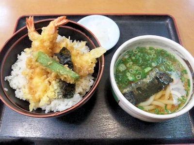ながさわ土山本店海老天丼(ミニうどん付)