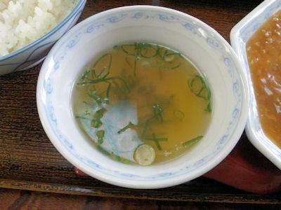 まるみ食堂日替り定食のスープ