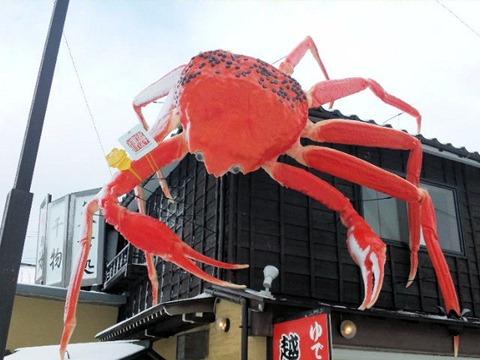 三国温泉越前蟹の坊の蟹の看板