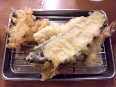 天ぷら定食まきの西神戸店えび・あなご天定食なすび