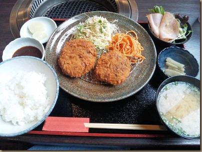 炭火焼肉みきや日替りサービス(コロッケ&ミンチカツ)定食