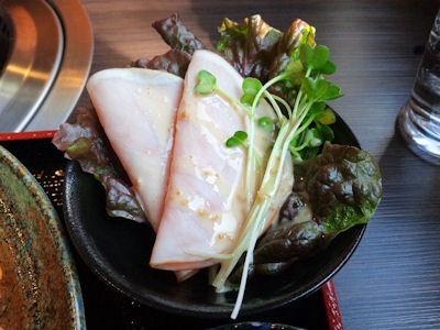 炭火焼肉みきやコロッケ定食の生ハム