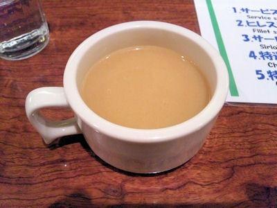 ビフテキのHibioステーキランチのポタージュスープ