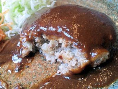炭火焼肉みきやハンバーグ定食のハンバーグの肉