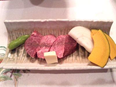生州割烹輝高牛肉の陶板焼き