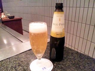 鉄板グリル銀杏ランチメニューなごみノンアルコールビール