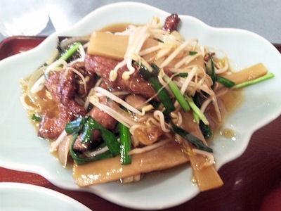 白鳳レバニラ炒め定食のレバニラ炒め