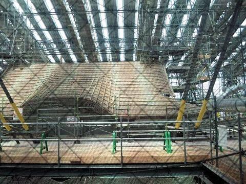 姫路城天空の白鷺見学ツアー_大屋根の工事