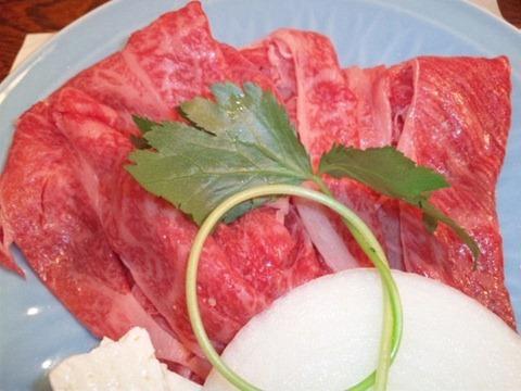 生州割烹輝髙黒毛和牛のしゃぶしゃぶの肉