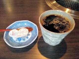 炭火焼肉みきや/日替りサービスのミンチカツ定食のアイスコーヒー