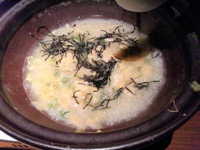 和平かにすき・焼きかにコースの雑炊