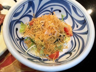 ステーキ工房小粋多門コースパリパリ芋の野菜サラダ