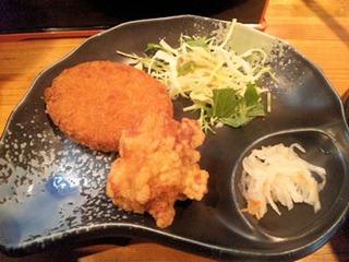 京風ラーメンめんくい亭日替り定食コロッケと唐揚げ