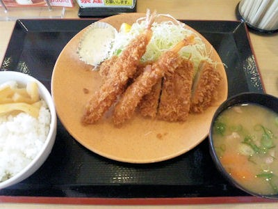 かつや東加古川店海老・ロースカツ定食