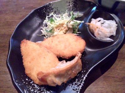 京風ラーメンめんくい亭日替り定食のささみ大葉フライと揚げ餃子