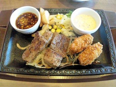 ステーキガスト/カットロースステーキ&広島産カキフライ