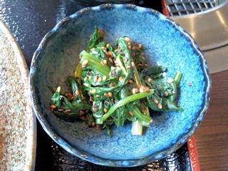 炭火焼肉みきやコロッケ定食のホウレン草のおひたし