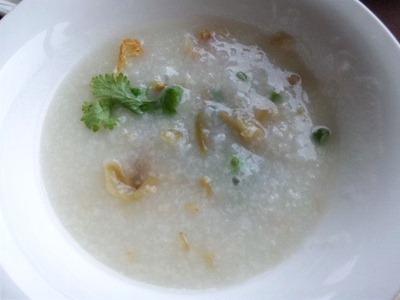 中国レストラン海螢広東ランチ/玄米入り中華粥薬味付き