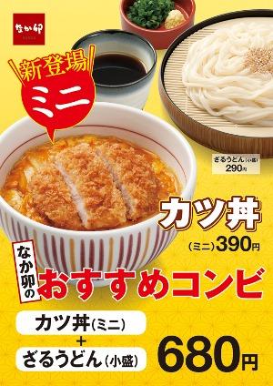 なか卯のおすすめコンビカツ丼(ミニ)と胡麻だれざるうどん(小盛)