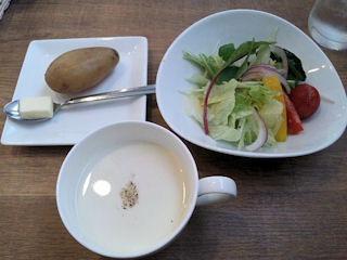 欧風カレー小夢ポテトとサラダとスープ