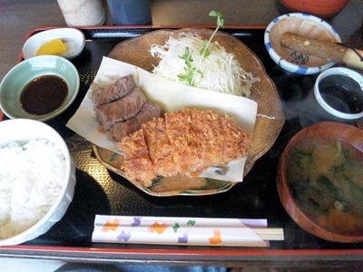 とんかつ播国産牛ステーキ&ロースカツ定食