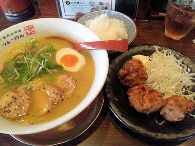 京都熟成細麺らぁ~めん京鶏しおらぁ~めんと唐揚げランチ