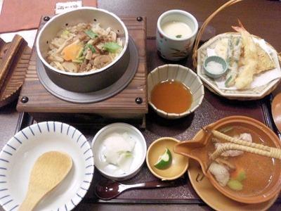 かごの屋明石店松茸釜飯定食