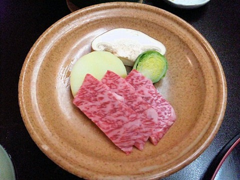 長嶋温泉ホテル花水木夕食和牛の陶板焼き