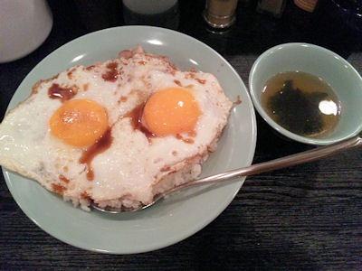 焼豚玉子飯美味焼豚玉子飯(並)とスープ