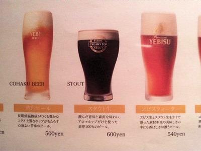ローマ軒ビールメニュー