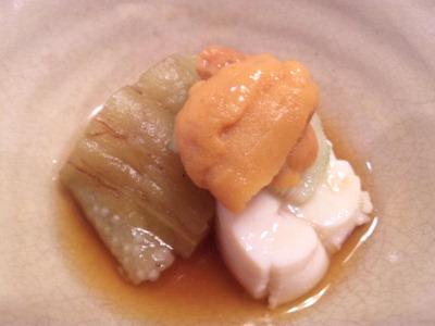 生州割烹輝髙ウニと白子と茄子
