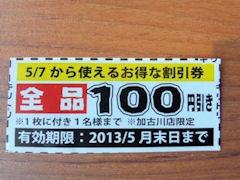 ちゃあしゅうや亀王亀王100円割引券