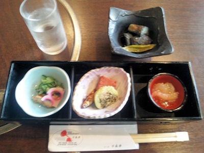 レストラン千成亭懐石風ランチ八寸三種盛り合わせ