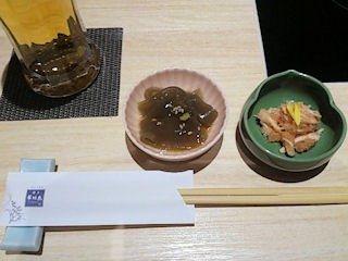 博多華味鳥水たきコースの小鉢二品