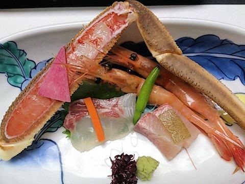 ホテル金波楼かに会席蟹含む旬の魚貝四種盛り