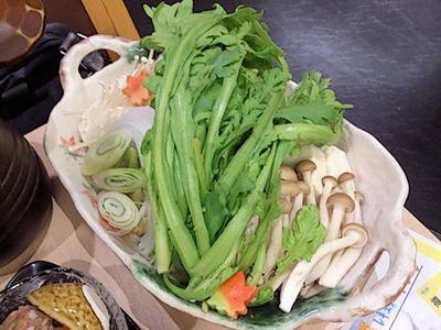 和ごころ万彩山海ちゃんこコースの野菜
