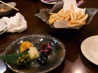 月の庵明石店宴会フライドポテトやお漬物