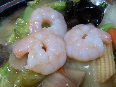 台湾料理金香どう日替りランチのエビと野菜炒め