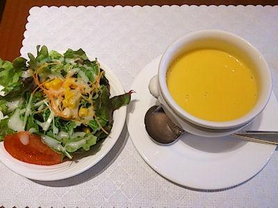 リヴィエールポテトのミートソースグラタンスープとサラダ