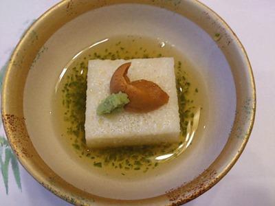 生州割烹輝髙水無月の先付/雲丹と山芋とろろ豆腐