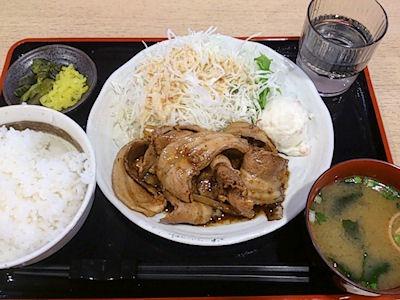 姫路バイパス別所PA下りお食事処『粋』生姜焼き定食