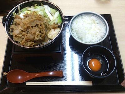 丸亀製麺牛すき鍋うどんと白ごはん小