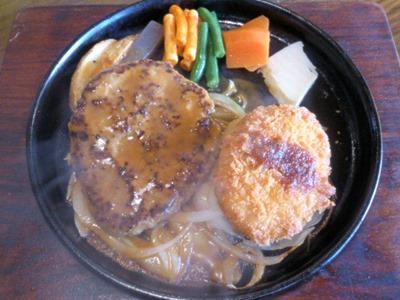 ステーキハウスジャンプスペシャルランチのハンバーグとコロッケ