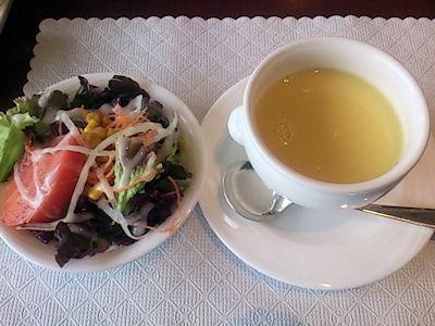 リヴィエール日替りランチのサラダとスープ