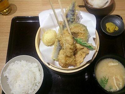 天ぷら海鮮五福鶏天定食