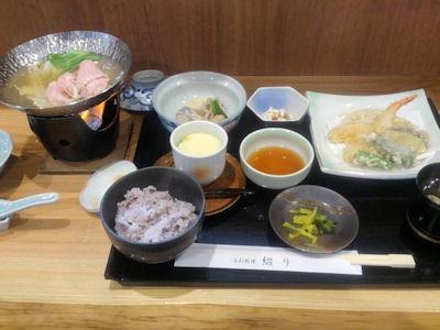 旬彩料理綴り天ぷら御膳と四万十豚のコラーゲン小鍋