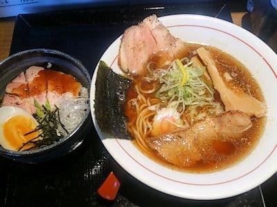 麺屋甚八中華そばレアポーク丼ランチ