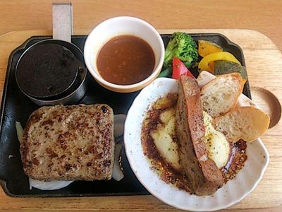 ココスフォアグラのグリル赤ワインソース&ビーフハンバーグステーキ