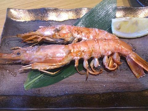 天ぷら海鮮五福赤海老の塩焼き