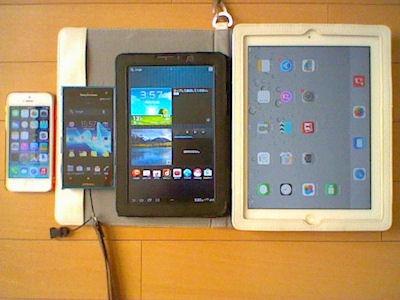 iPhone5とXperiaHDとAndroidタブレットとiPad2